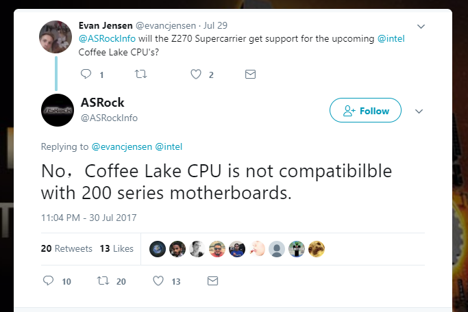 tweet asrock 200 coffee lake