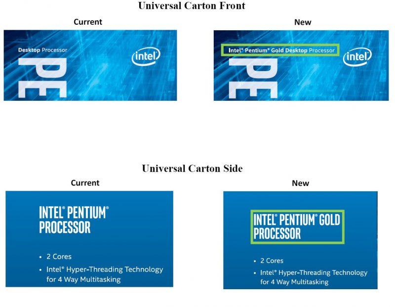 Pentium i Pentium Gold zmiana na pudełku
