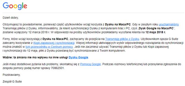 google dysk powiadomienie synchronizacja chmura drive