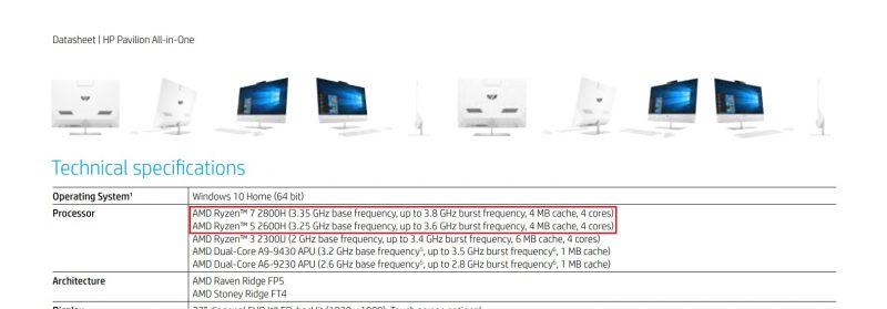 amd ryzen 7 2800h 5 2600h specyfikacja mobilne procesory cpu 4 rdzenie 8 wątków taktowanie itpc